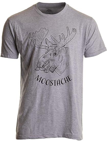 dc8b55bb Amazon.com: Moostache | Dad Joke Funny Stupid Animal Moose Humor Pun Mustache  Men T-Shirt Sport Grey: Clothing