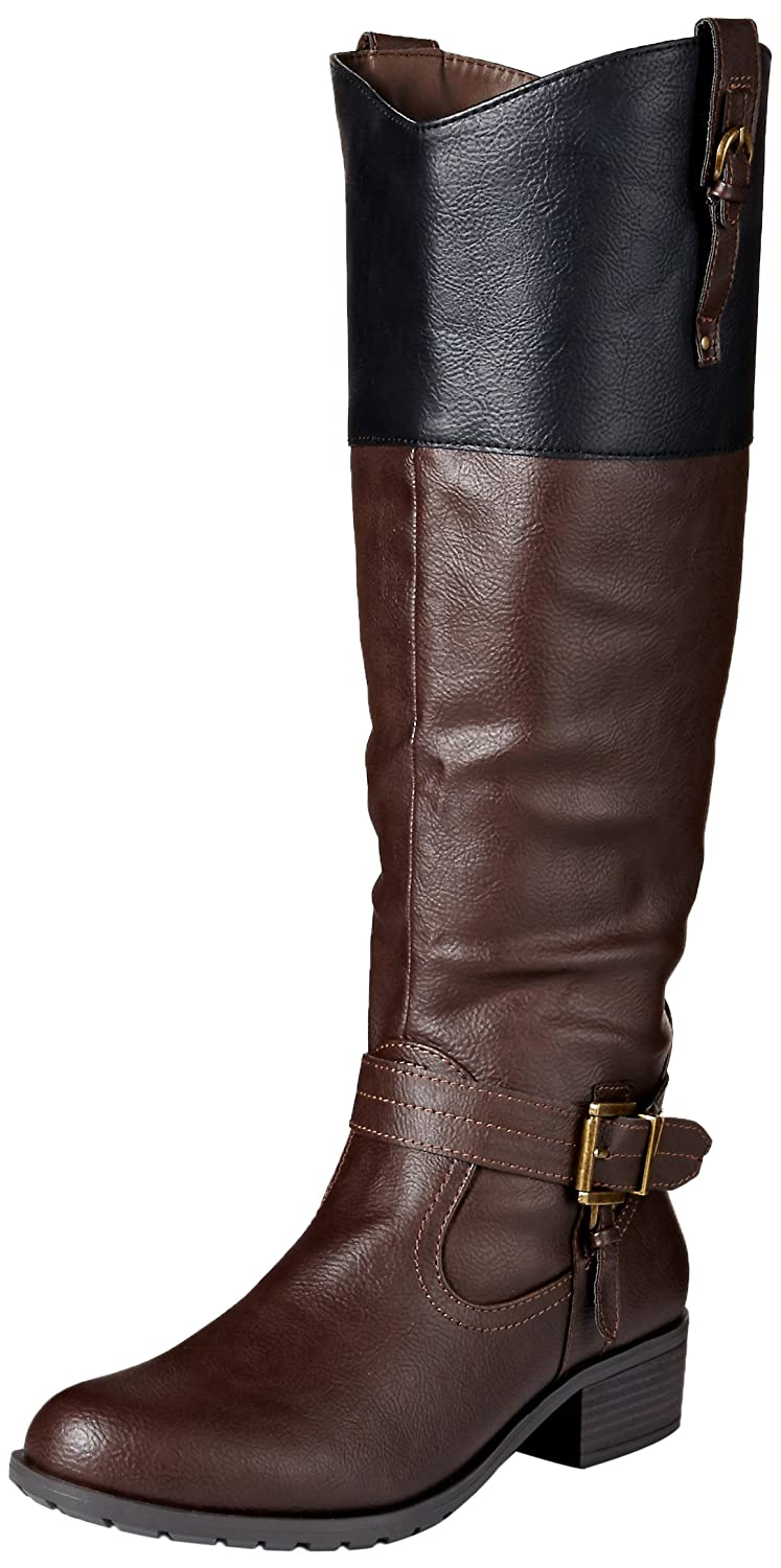 Rampage Women's Ivelia Fashion Knee High Casual Riding Boot (Available In Wide Calf) B00VVJ6OZ4 9 B(M) US|Brown/Black