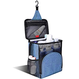 KUSOOFA Shower Caddy Tote Bag, Hanging Toiletry Bag,Bath Organizer with Quick Dry Technology, Bath Organizer for College Dorms, Gym, Camp, Women Men (Blue)