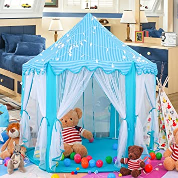 Springbuds Kids Blue Princess/Prince Castle Play Tent Large Children Playhouse for Boys u0026  sc 1 st  Amazon.com & Amazon.com: Springbuds Kids Blue Princess/Prince Castle Play Tent ...