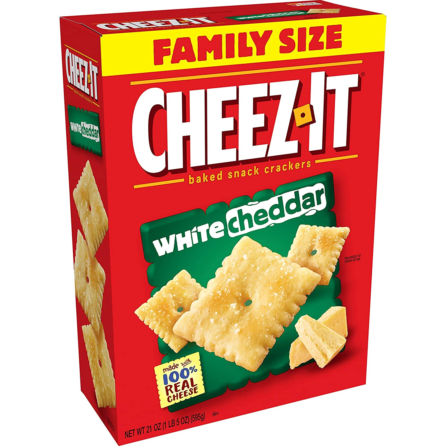 Cheez-It Baked Snack Cheese Crackers, White Cheddar, Family Size, 21 oz Box