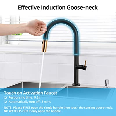 Buy Yitahome Touch On Kitchen Faucet Matte Black Solid Brass Kitchen Sink Faucet With Pull Down Sprayer Single Hole High Arc Smart Touch Activated Faucet Gold Single Handle For Farmhouse Rv Laundry Online