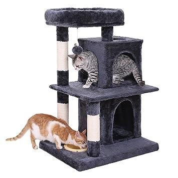 FEANDREA Árbol para Gatos con Tazón de Comida, Rascador con Varias Plataformas, Postes de