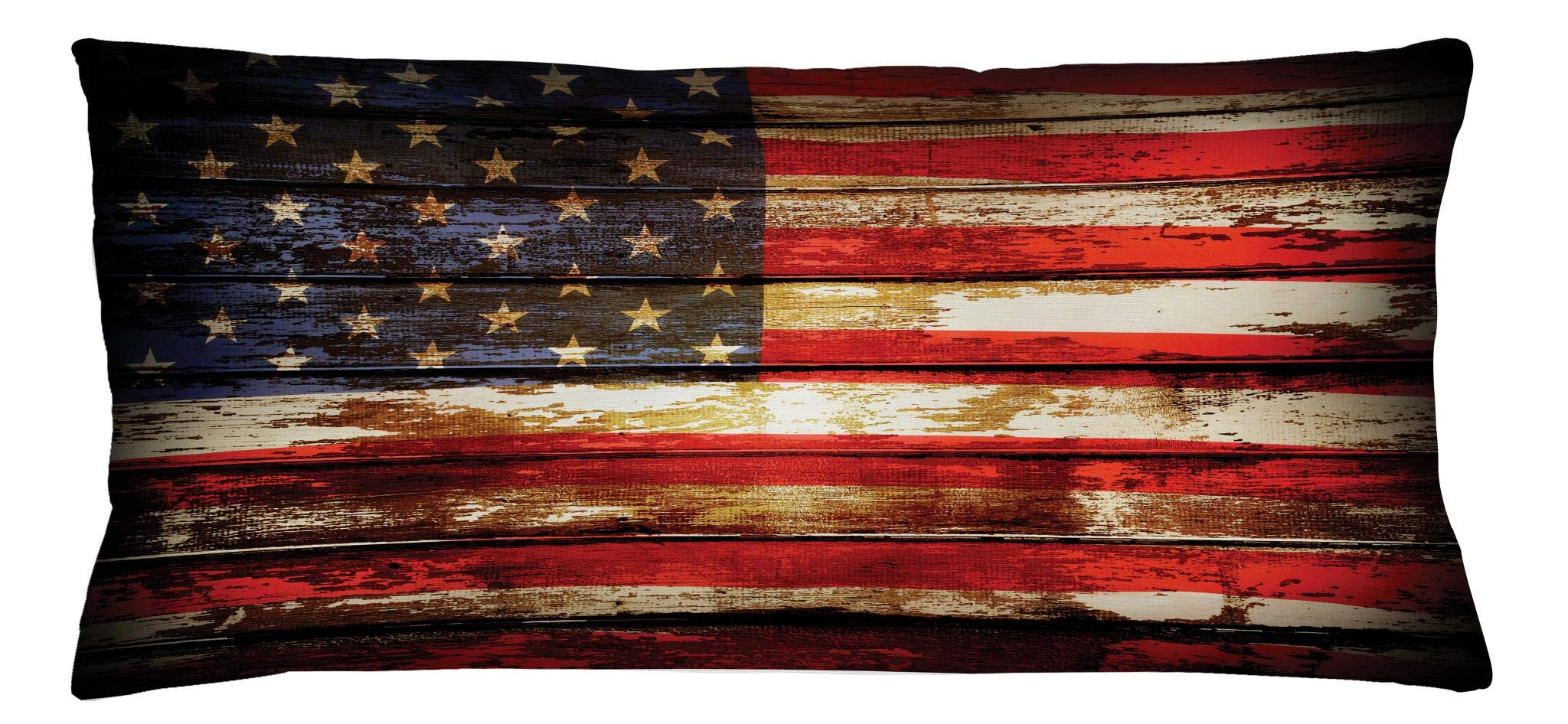 Ambesonne American Flag Throw Pillow Cushion Cover, Us Symbolism Over Old Rusty Tones Weathered Vintage Social Plank Artwork, Decorative Square Accent Pillow Case, 36 X 16 Inches, Multicolor