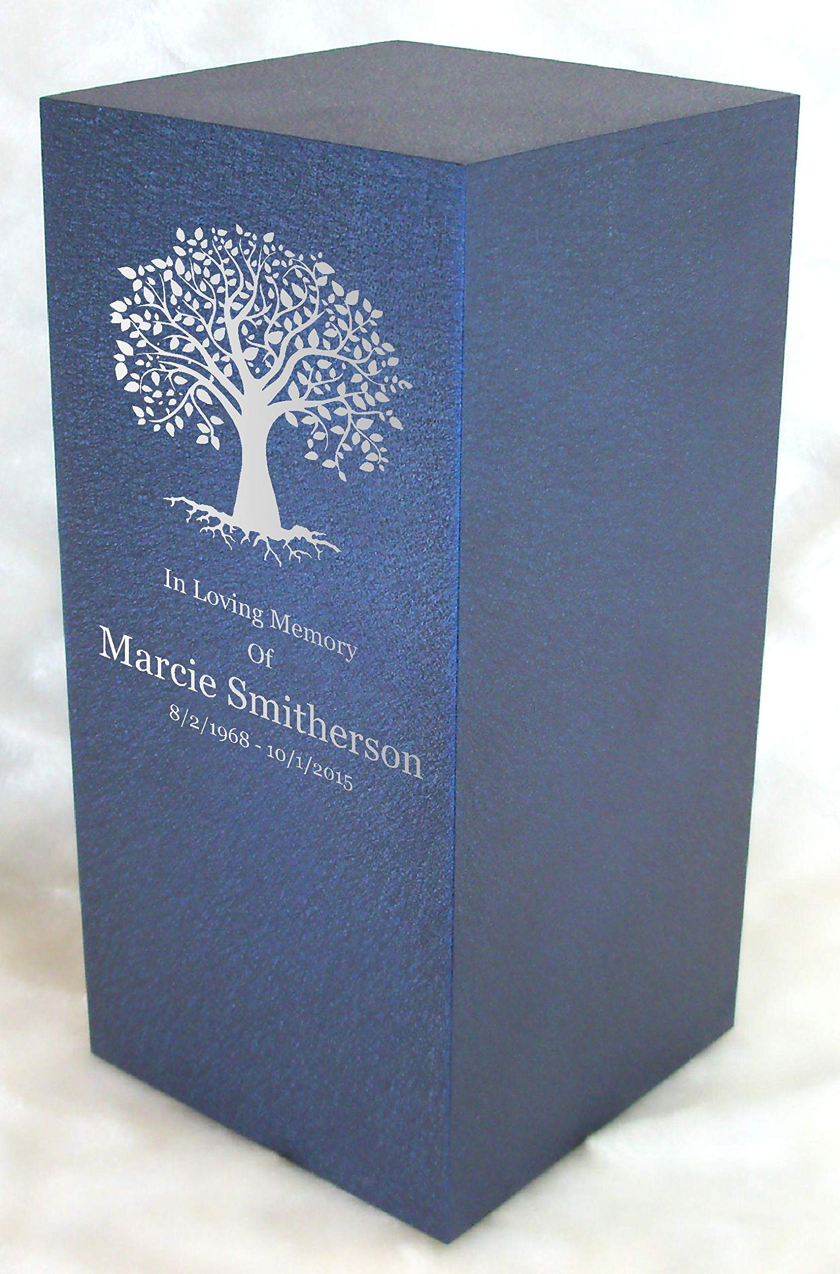 Personalized Engraved Tree of Life Cremation Urn for Human Ashes -Made in America- Handcrafted in The USA by Amaranthine Urns, Adult Funeral Urn -Eaton DL-up to 200 lbs Living Weight (Deep Sea Blue)