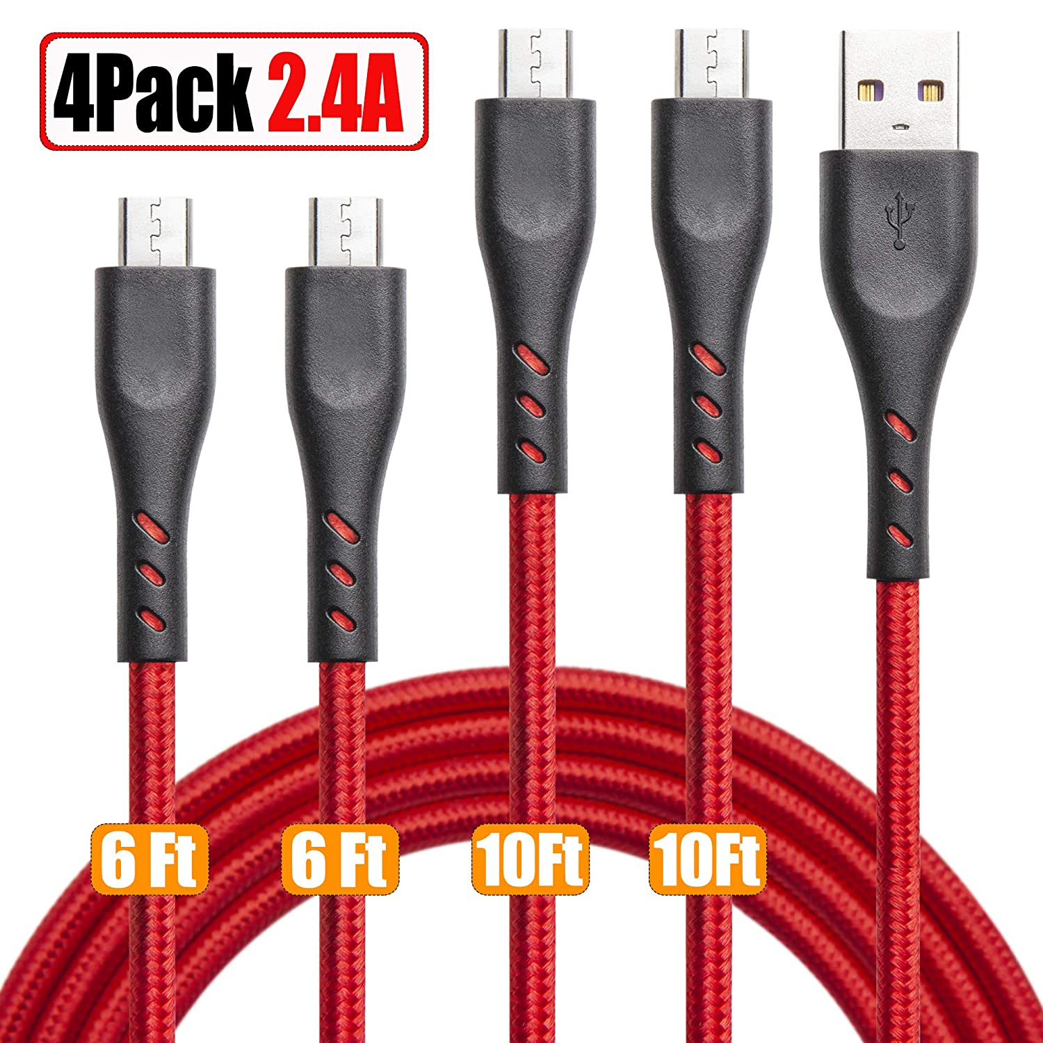 Micro USB Cable Braided 10ft 6ft, 4 Pack Android Charging Cable Fast Phone Charger Cord with Extra Long Length Nylon Braided for Samsung Galaxy S7 Edge/S7/S6,Note 5 4,LG G4,HTC,PS4,Camera,MP3, HTC