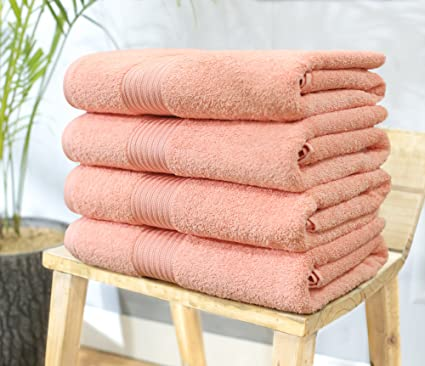 Swiss Republic 100% Ring Spun Cotton 4 Piece Bath Towel Set (Coral);