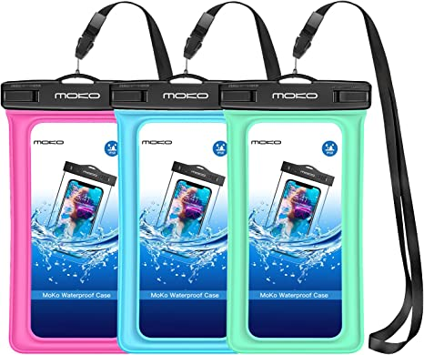 8//7 MoKo Floating Waterproof Phone Pouch Galaxy S10//S9//S8 //S10e//S20//Note 10 Floatable Phone Case Dry Bag with Lanyard Compatible with iPhone 11//11 Pro X//Xs//Xr//Xs Max 2 Pack