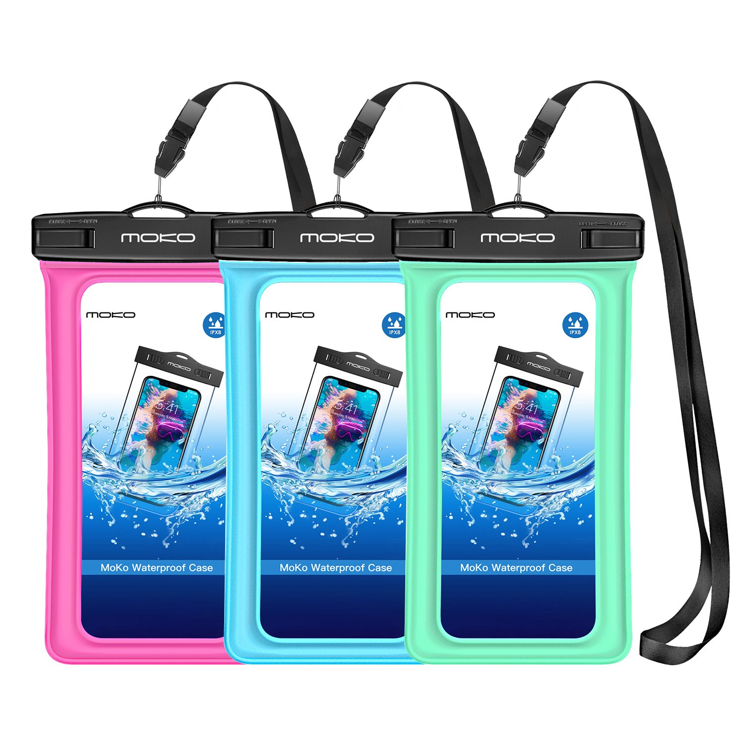MoKo Floating Waterproof Phone Case [3 Pack], Universal Cellphone Pouch Dry Bag with Armband Neck Strap for iPhone X/8 Plus/8/7/6S Plus, Samsung Galaxy S9/S8 Plus, Note 9/8, Huawei, Google Nexus by MoKo (Image #1)