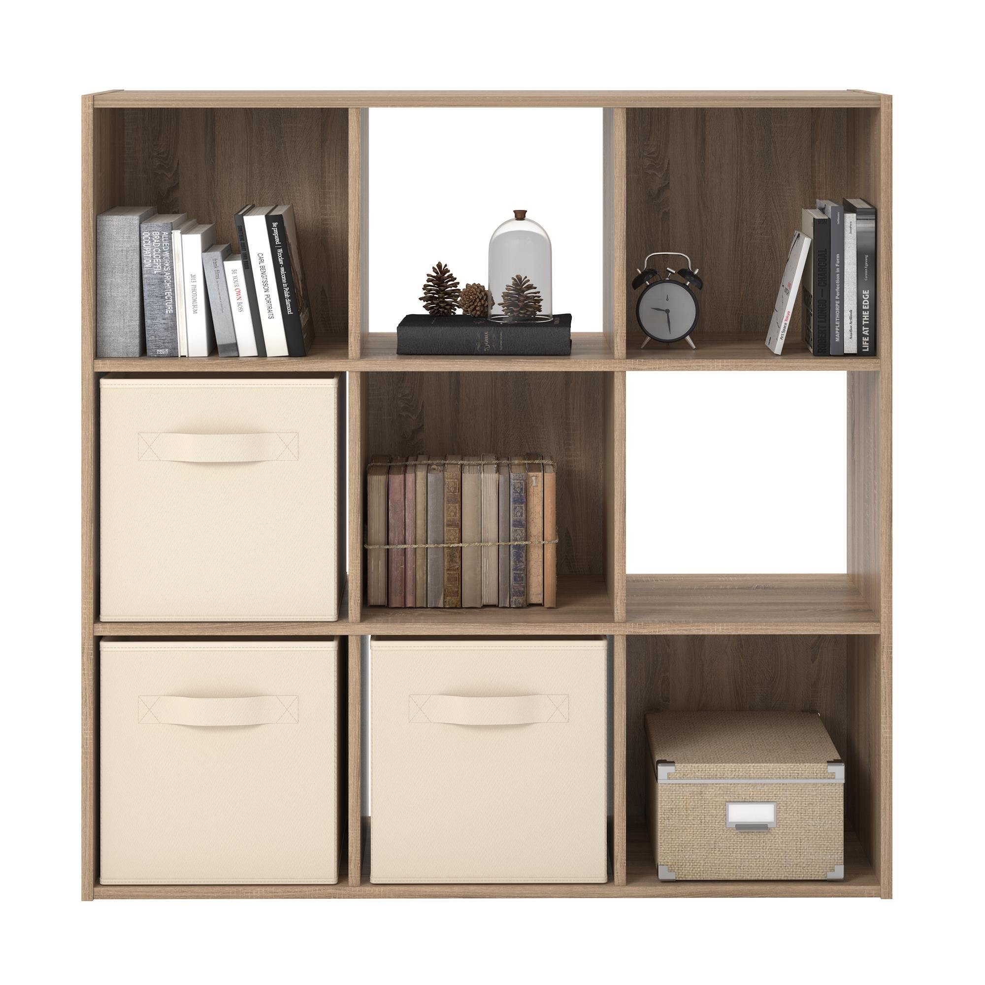 RealRooms Tally 9 Cube Bookcase, Weathered Oak by REALROOMS (Image #4)