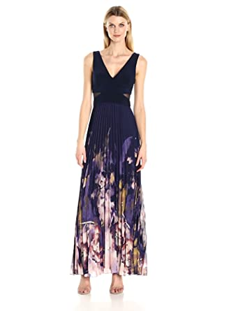 Xscape Womens Long Chiffon Pleated Gown, Navy/Multi, ...