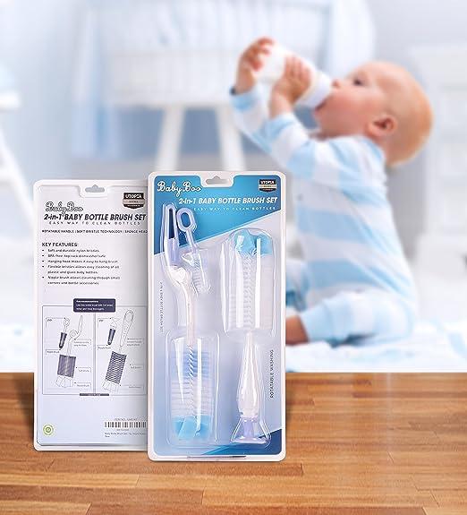 Amazon.com: 2-en-1 juego de cepillo para polvo para botellas ...