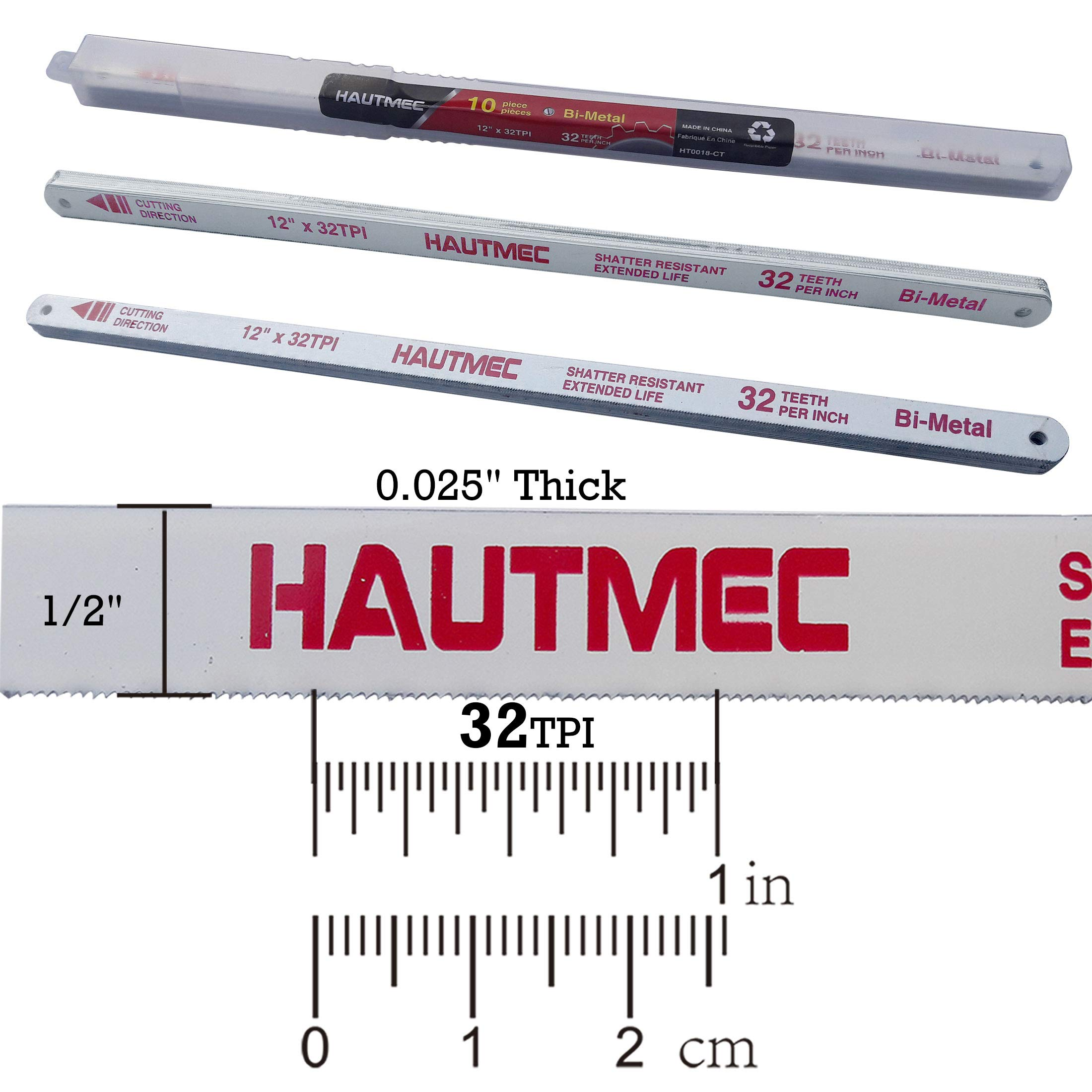 HAUTMEC Hacksaw Replacement Blades BI-METAL (10 Pack) High Speed Steel Grounded Teeth 32 TPI x 12'' Length 0.025'' Thick x 1/2'' Width HT0018-CT by HAUTMEC (Image #2)