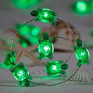 Sea Turtles String Lights, Nautical Theme Decorative,10 ft 40 LEDs Waterproof Battery & USB Powered with Remote and Timer, for Wedding Birthday Party Kids Bedroom Living Room Ornament