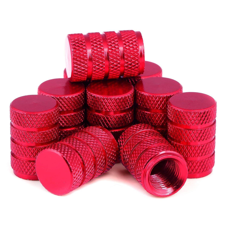 Red LIHAO 10pcs Tyre Caps Air Valve Caps Aluminium Dust Caps for Cars Bikes Motorbikes