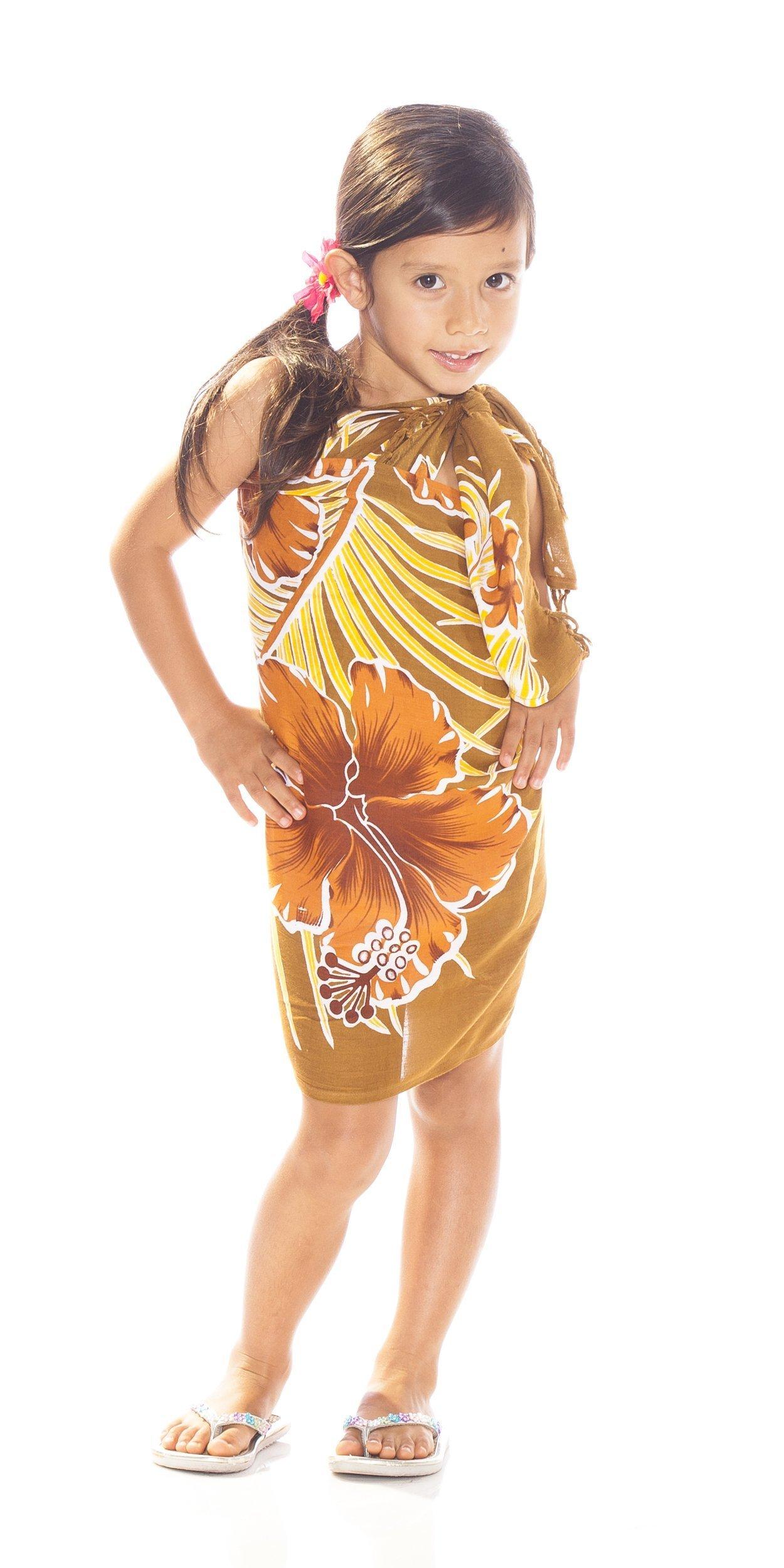 1 World Sarongs Girls Hawaiian Half Sarong in Browns