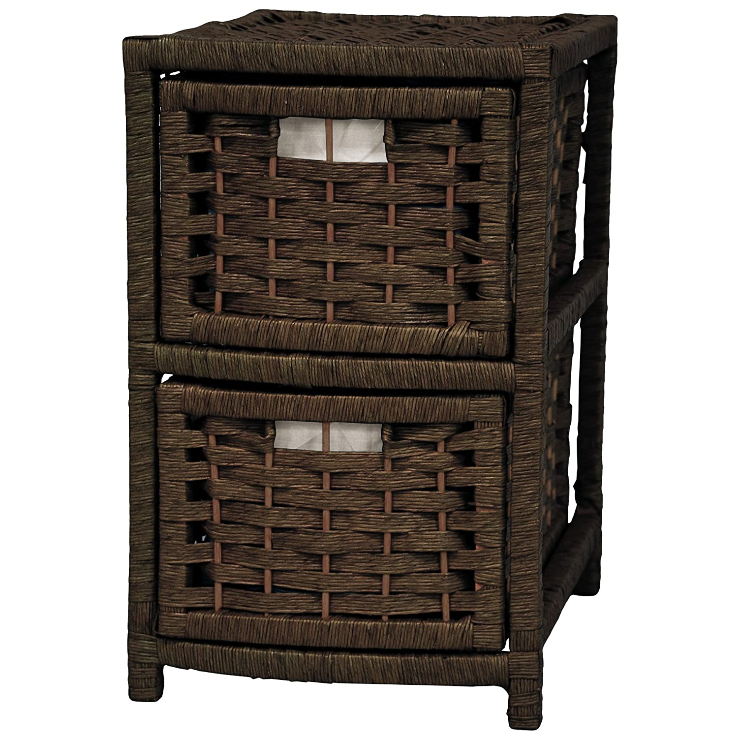 17 Natural Fiber Occasional Chest of Drawers - Mocha Oriental Furniture