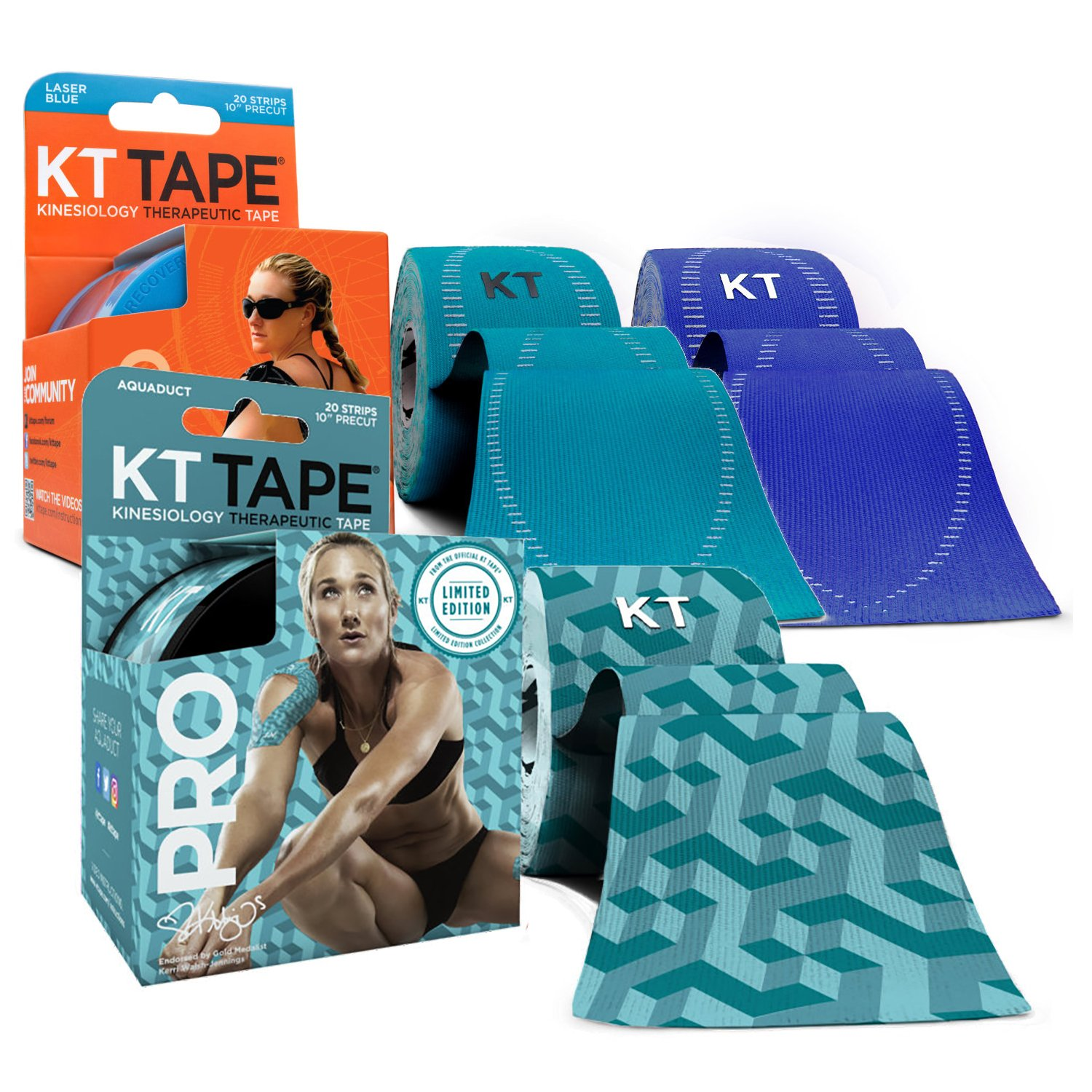 KT Tape PRO Precut 60-Strip Synthetic Kinesiology Tape Three-Roll Bundle - Aquaduct, Sonic Blue, Laser Blue