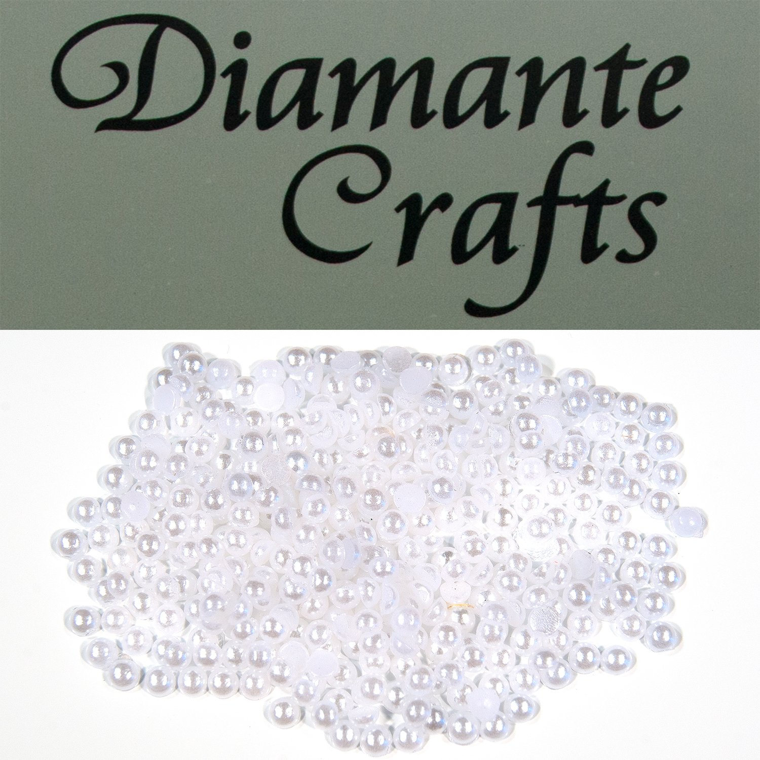 300 x 2mm White Round Pearls Loose Flat Back Nail Vajazzle Body Gems - created exclusively for Diamante Crafts