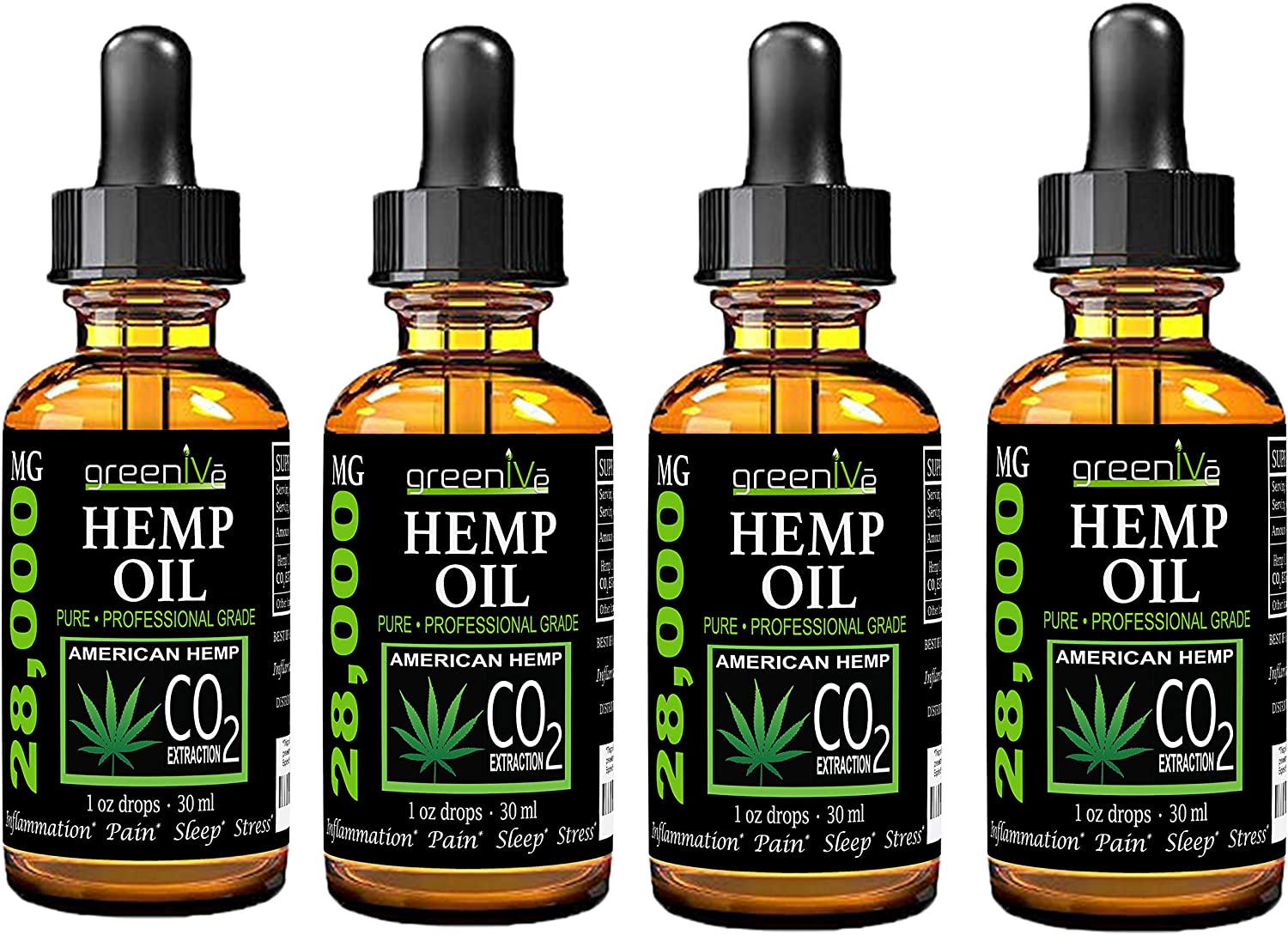 (4 Pack) GreenIVe 28,000mg Hemp Oil Anti-Inflammatory, Rapid Pain Relief, Stress Reducer, Vegan Omegas C02 Extraction Exclusively on Amazon (4 Pack)