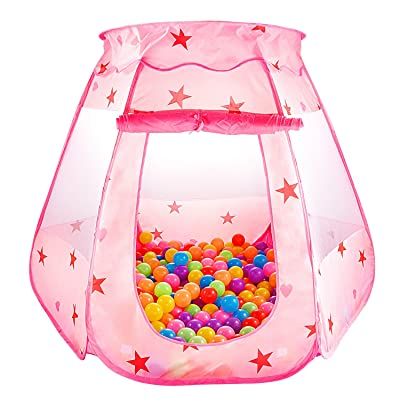 "S.K.L Kids Princess Play Tent Foldable Popup Balls House for Children Indoor and Outdoor(balls not included), 47"" L x 35"" H, Pink: Toys & Games"