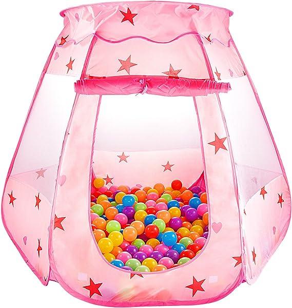 Imagen deSKL Piscina para niños Tienda Princess Play Pozo de bola emergente plegable para niños (BBP-11, rosa, 47 * 35 pulgadas)