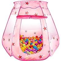 SKL Princess Tente de Jeux Enfant Piscine à Balle Pliable Parc à Boule Tente Pop Up pour Enfant (Rose 47*35 Pouces)
