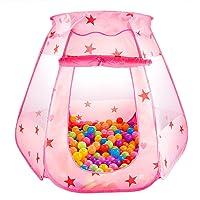 Princess Tente de jeu enfant Pop Up Piscine à balles Jouet pour Bébé Jeu de l'intérieur ou à l'extèrieur (Rose)