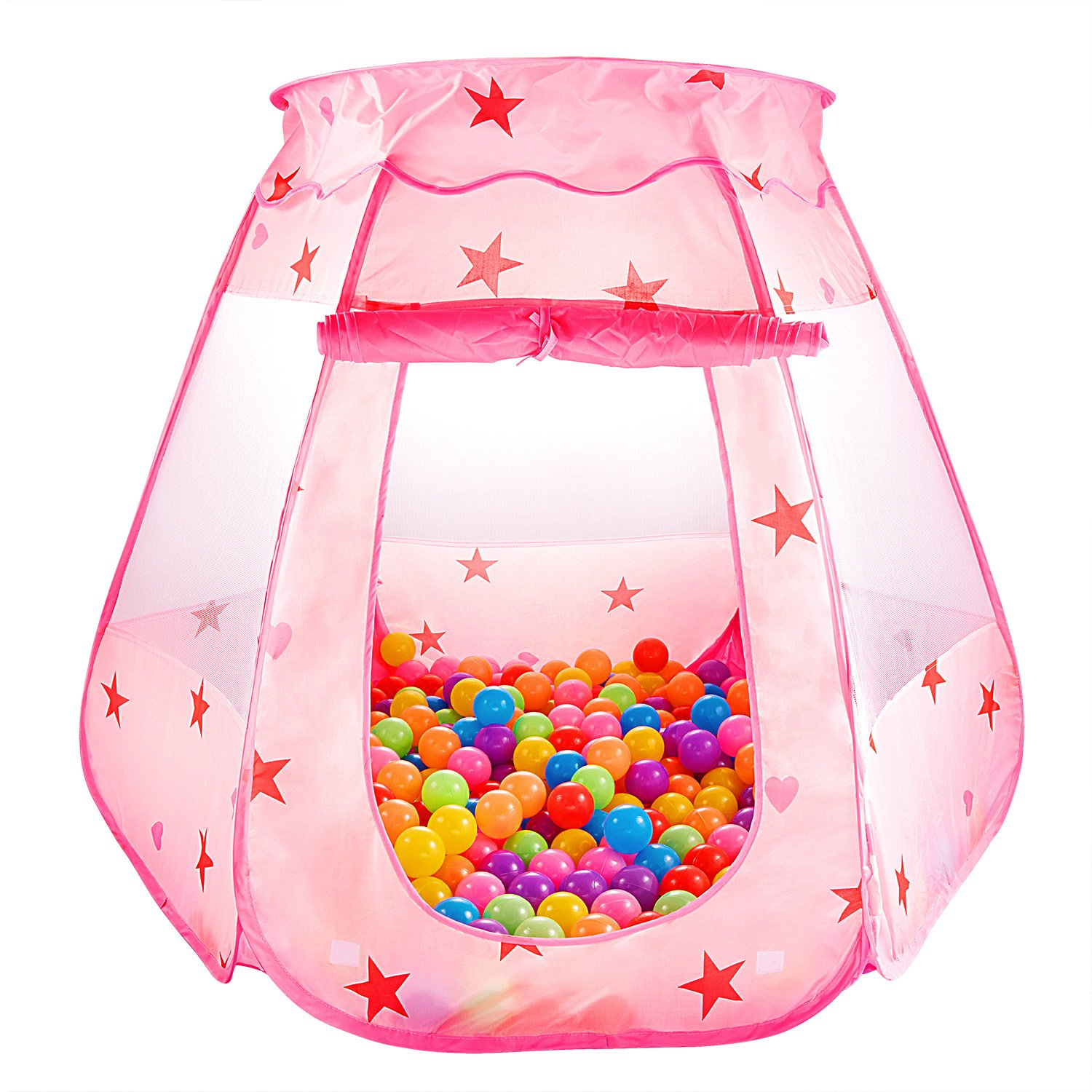 CASA MALL Kids Princess Play Tent Foldable Popup Balls House for Children Indoor and Outdoor, 47'' L x 35'' H, Pink