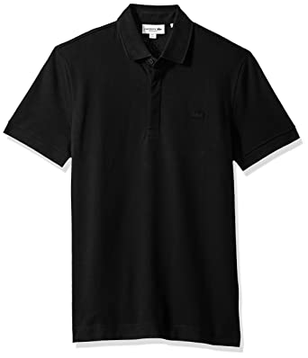 Lacoste Men s Short Sleeve Solid Stretch Pique Regular Fit Paris Polo,  PH5522, Black, 2dbafaaec8
