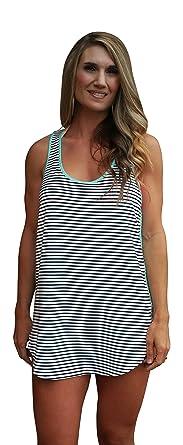 eba787c93be Racerback Swimsuit Cover Up Beachwear Dress (X-Large, Black Stripe ...