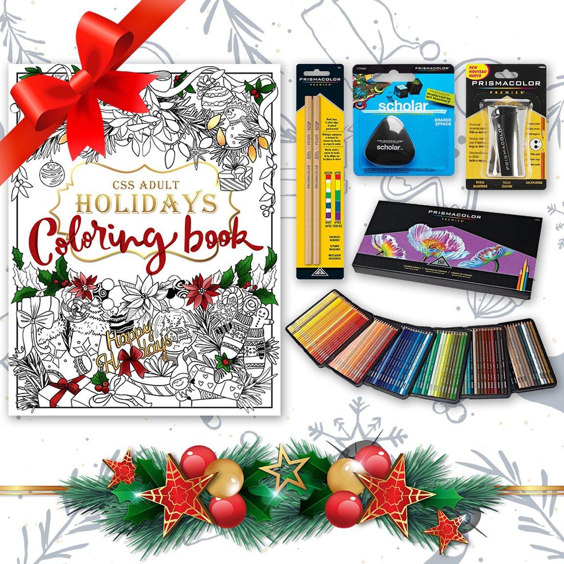 Prismacolor Bundle - 150-Count Colored Pencils, Triangular Scholar Pencil Eraser, Premier Pencil Sharpener, Colorless Blender Pencils, and CSS Adult Coloring Book