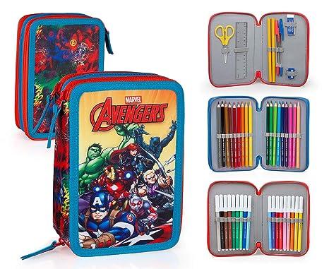 Marvel Vengadores 63234 Estuche 3 bisagras, Plumier Triple ...