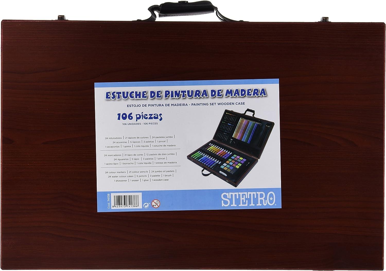 ESTUCHE DE PINTURA STETRO MADERA 106 PIEZAS MALETIN: Amazon.es: Oficina y papelería
