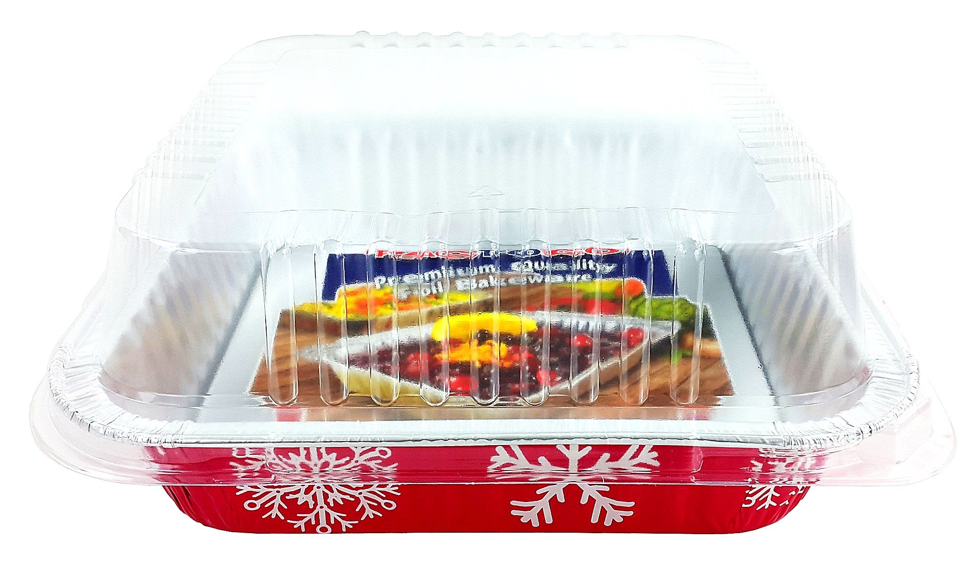 Pactogo Red Holiday Christmas Square Cake Aluminum Foil Pan w/Clear Dome Lid Disposable Baking Tins (Pack of 25 Sets) by PACTOGO (Image #5)