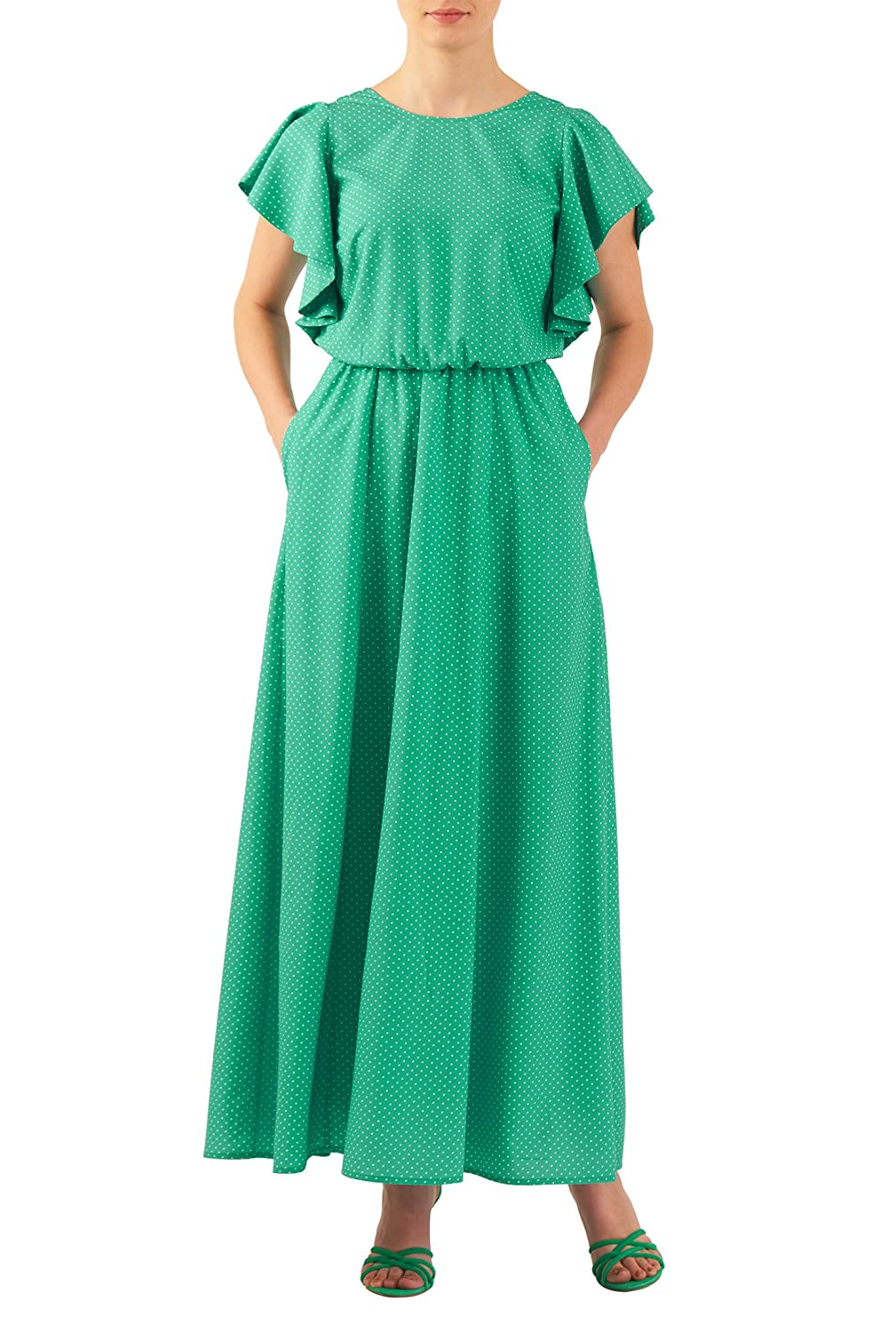 1930s Style Fashion Dresses eShakti Womens Custom Flutter sleeve dot print crepe maxi dress Green/white.95 AT vintagedancer.com