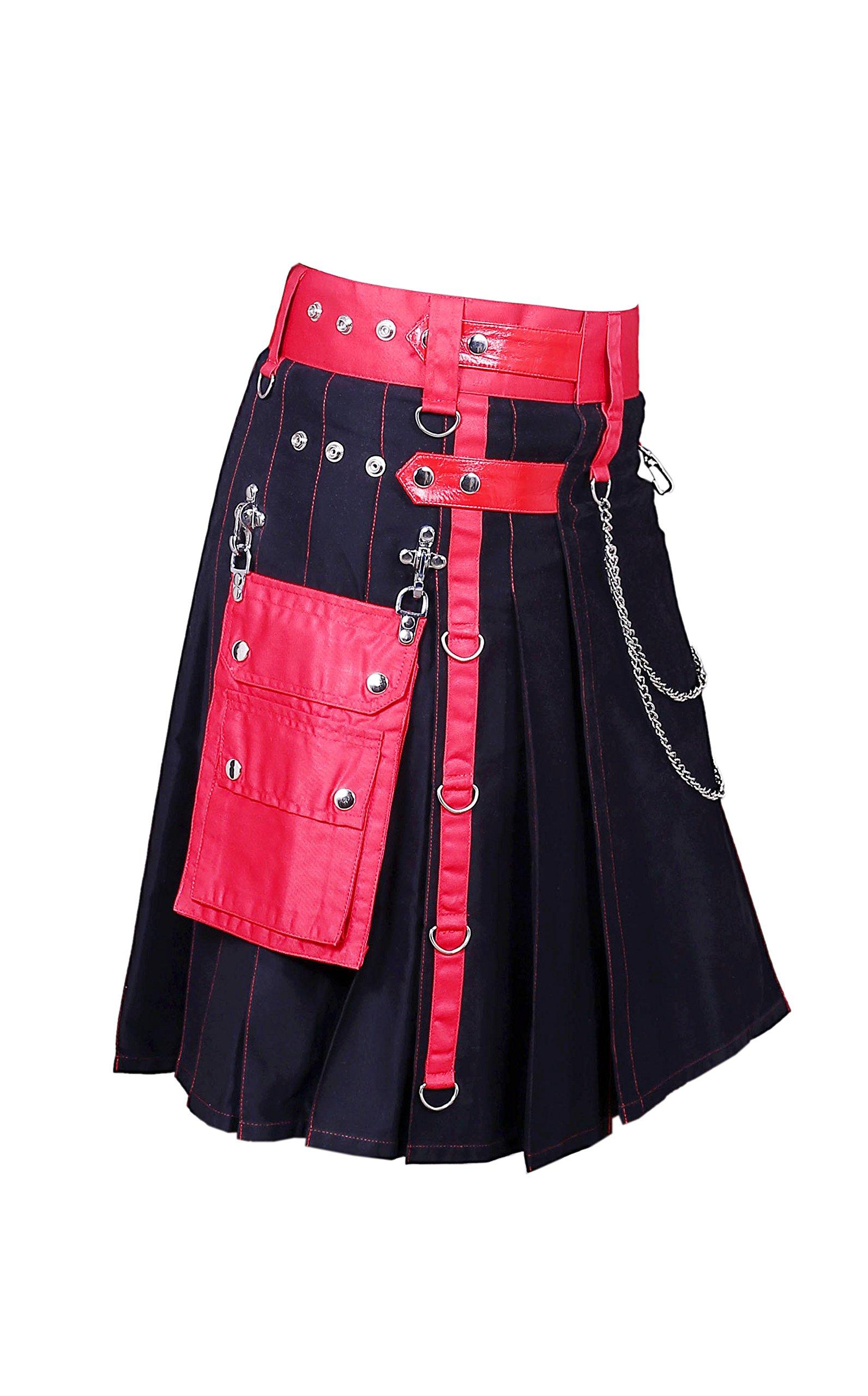 Black & Red Fashion Utility Kilt (Belly Button Measurements 42)