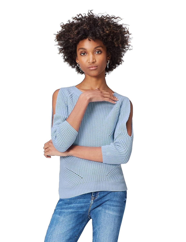 FIND Pullover Damen Off-Shoulder-Design und Lochstrickmuster