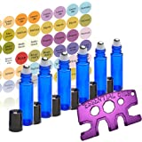 6 Glass Stainless Steel Roller Bottles - 6 Pack Cobalt Blue 10ml - Free Roller Bottle Opener Key Tool & 192 Essential Oil Bottle Cap Sticker Labels - Re-usable 10ml Roll ons