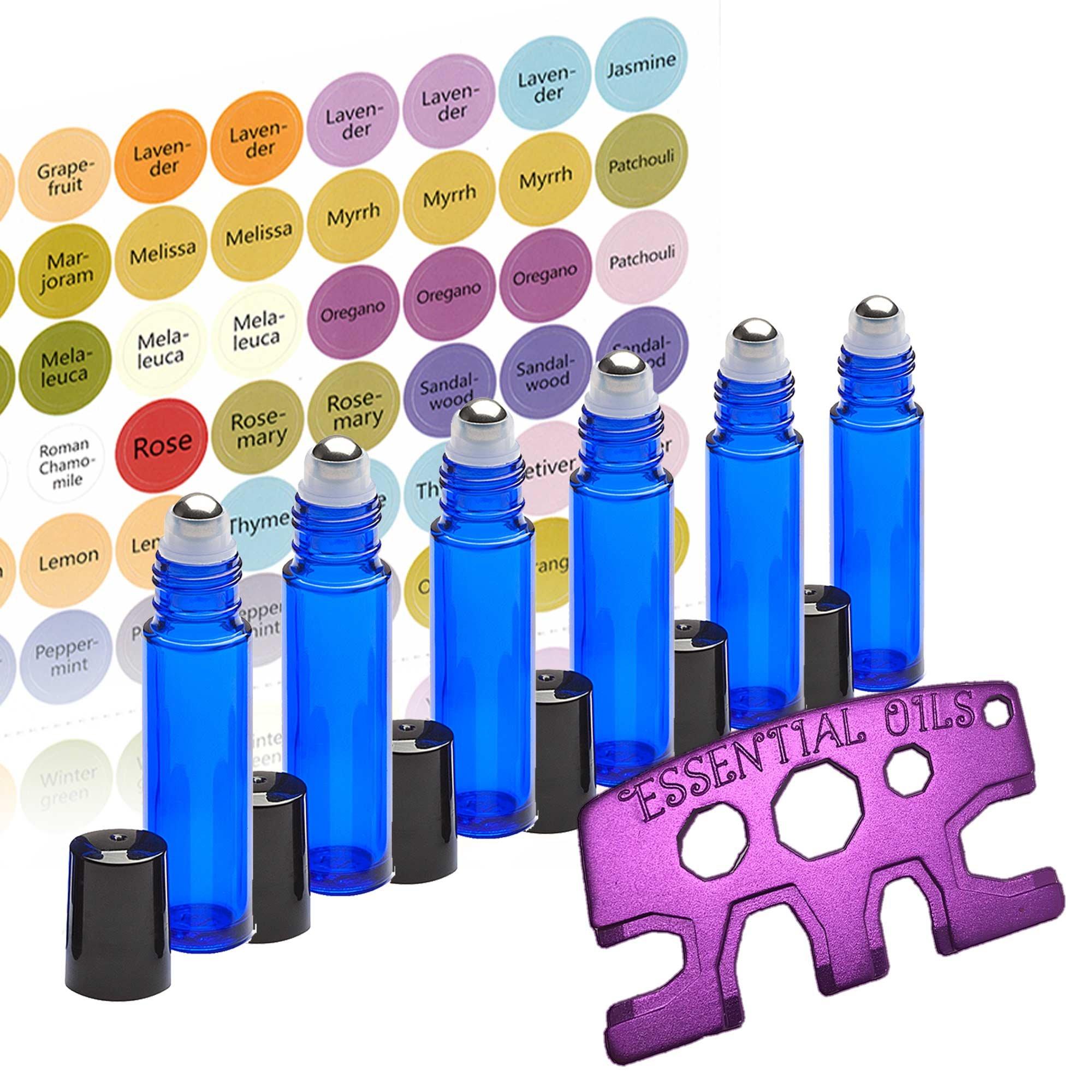 6 Glass Stainless Steel Roller Bottles - 6 Pack Cobalt Blue 10ml - Free Roller Bottle Opener Key Tool & 192 Essential Oil Bottle Cap Sticker Labels - Re-usable 10ml Roll ons