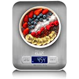 Project eLUX Digital Kitchen Food Weighing Scale, Stainless Steel Back-lit LCD-Display Slim Design AAA Batteries…