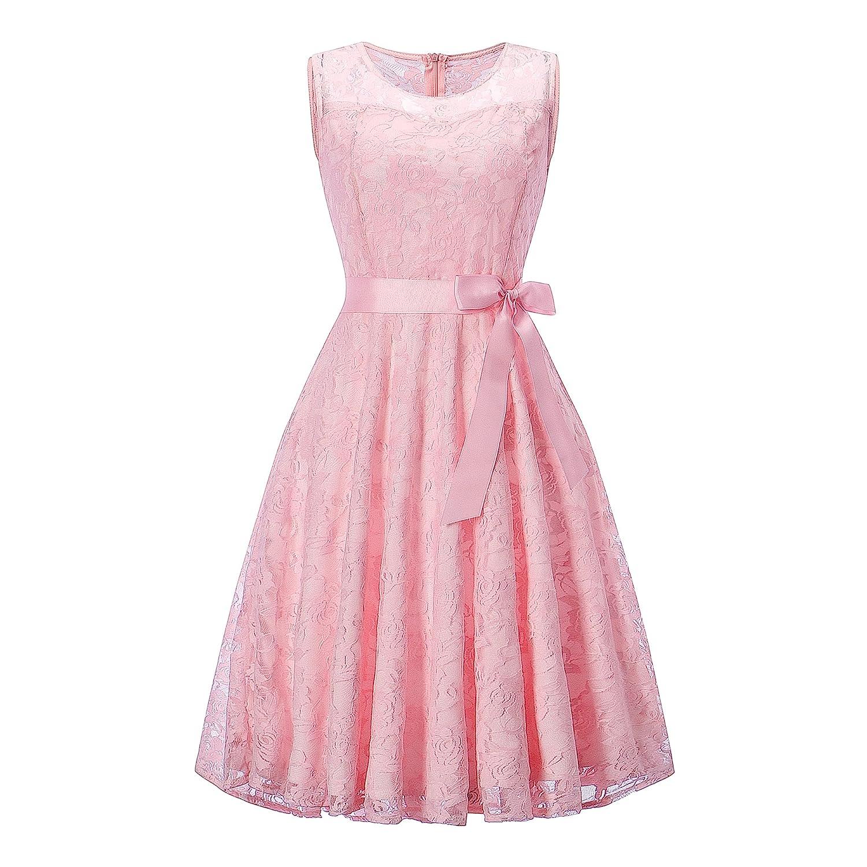 TALLA XS/EU 34-36. Vestido Mujer de Encaje Corto Vestido de Fiesta Vestido de Cóctel Sin Manga con Lazo Cuello V y Cuello Redondo para Madrina Fietsa Boda Ceremonia y Eventos Redondo-rosa XS/EU 34-36