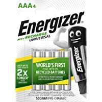 Energizer Oplaadbare batterijen AAA, universele oplaadkabel, 4 stuks