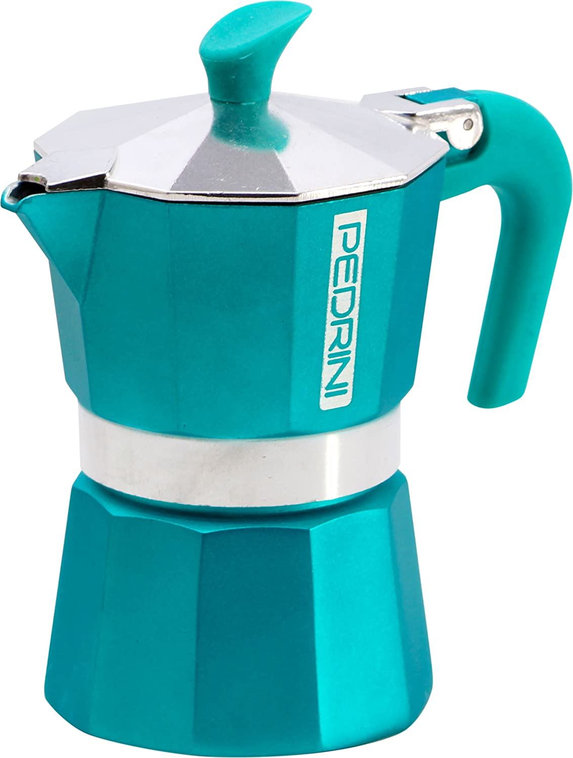 Pedrini: 3 Cups Espresso Coffee Pot, Türkis (Green/Blue) Türkis (Green/Blue)