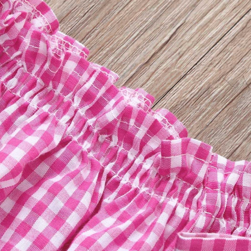 Girls Summer Off Shoulder Sets,Jchen Toddler Baby Girls Short Sleeve Plaid Tops+Denim Pants Outfits TM