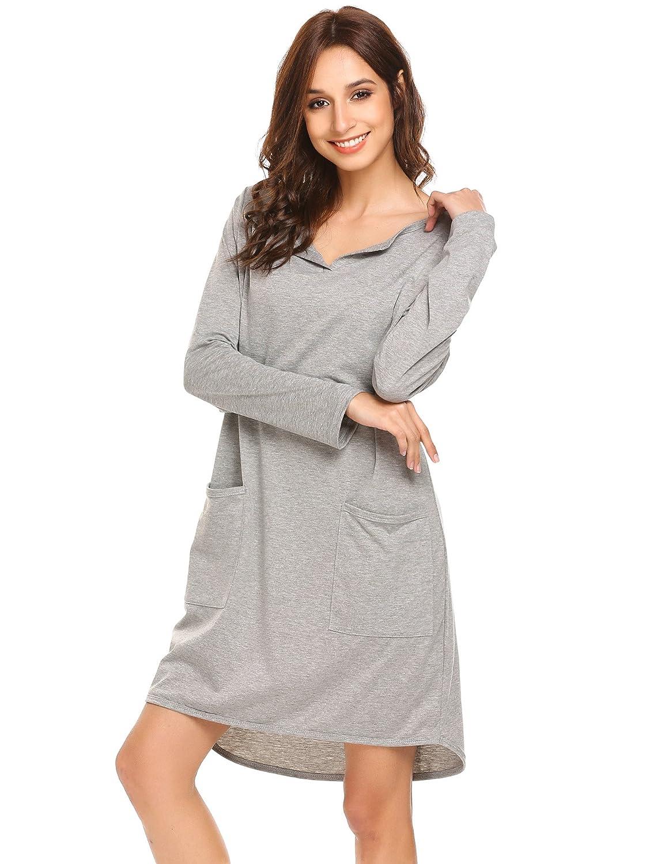 677b7d1f4c Ekouaer Women s Nightshirts Long Sleeve Cotton Sleepwear