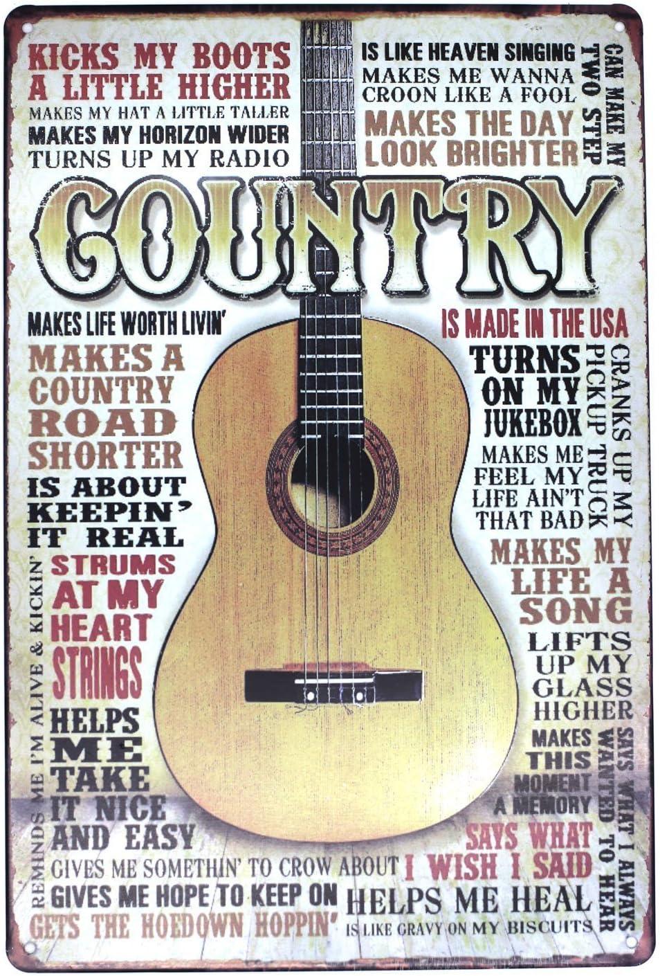 SUMIK Country Music Guitar Metal Tin Sign, Vintage Art Poster Plaque Den Bedroom Bar Home Wall Decor