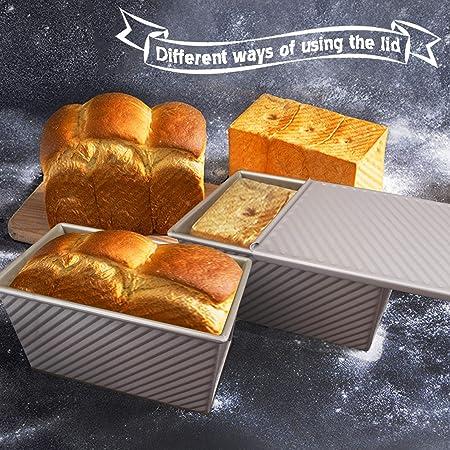 MyLifeUNIT Molde antiadherente para hogaza de pan tostado, molde de acero aluminizado, con tapa, color dorado
