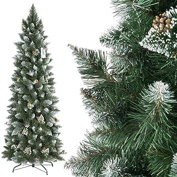 FairyTrees Artificial Árbol de Navidad Slim, Pino Natural Blanco nevado, Material PVC, Las verdaderas piñas, el Soporte en Metal, 180cm: Amazon.es: Hogar