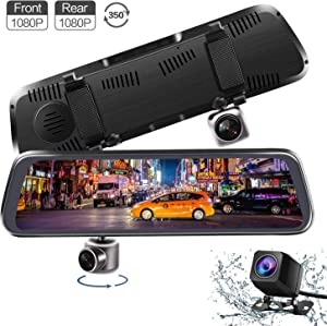 Mirror Dash Cam, 10 Inch Full Touch Screen Dual 1080P 350° Rotating Front Camera and Waterproof Rear View Camera Stream Media Dashboard Driving Recorder with Parking Mode G-Sensor Reverse Assistance